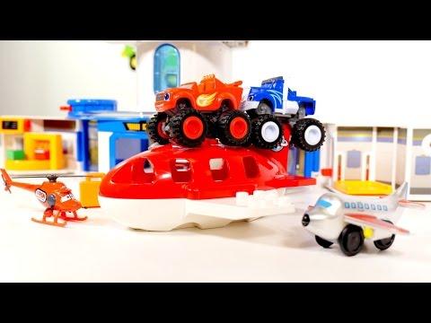 Vídeo educativo THE MONSTER MACHINES Blaze y Crusher Juegos de AVIONES en el aeropuerto Super Wings