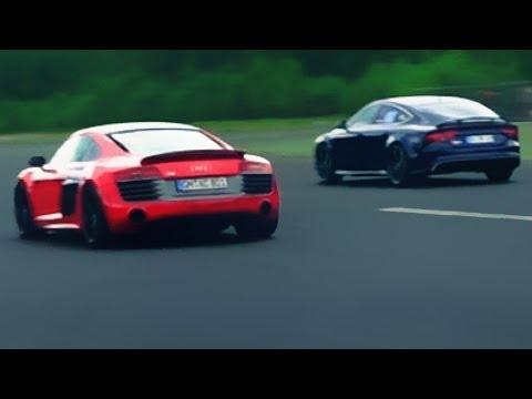 Audi RS7 vs Audi R8 V10 Plus Race