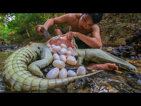 Amazing! Crocodile Eggs In Big Crocodile Stomach & Cooking at Home - Survival Time