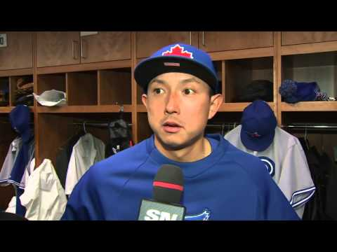 English - Blue Jays fan favourite Munenori Kawasaki is back with the club and dealing with some cold weather, but he's distracting himself by praciticing English with ...
