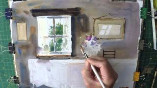 Watercolour demonstration of an old Farmhouse interiour