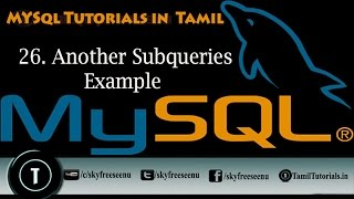 MYSQL Tutorials In Tamil 26 Another Subquaries Example