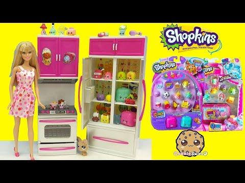 Shopkins Season 5 + 4 Unboxing with Surprise Blind Bags in Barbie Fridge - Cookieswirlc
