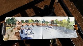 Worcester river severn plein air watercolour painting on my bike!