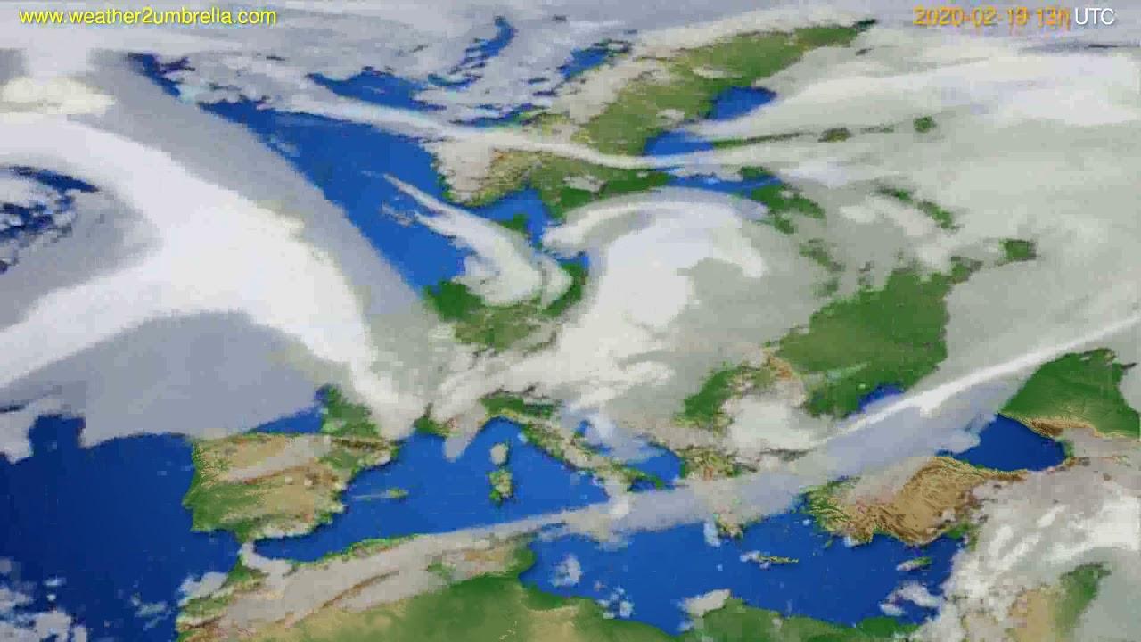 Cloud forecast Europe // modelrun: 12h UTC 2020-02-18