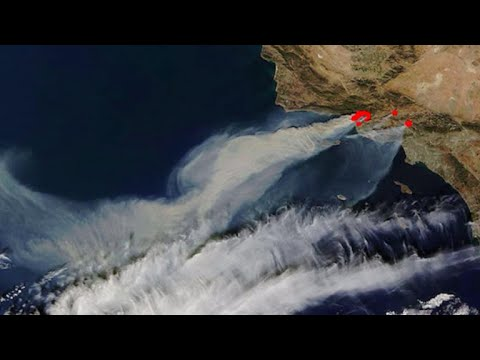 Thick smoke from California wildfires seen from space