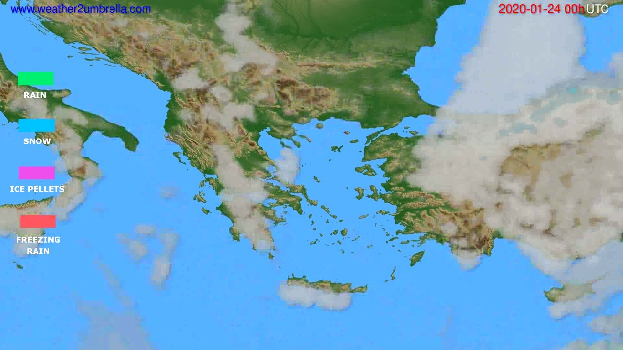 Precipitation forecast Greece // modelrun: 00h UTC 2020-01-23