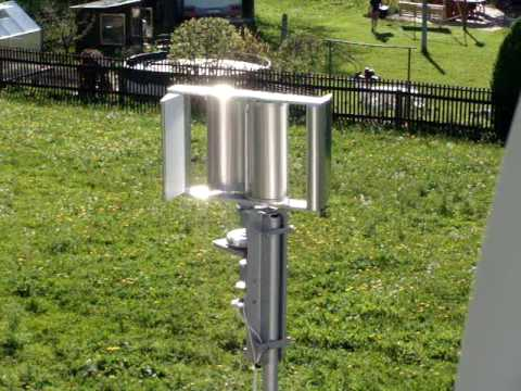 selbstgebautes Edelstahl Windrad/ Windmühle mit Darrieus Rotor und Savonius Rotor