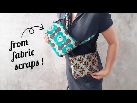 Sew A Small Zipper Purse From Fabric Scraps !! Adjustable Straps Too !
