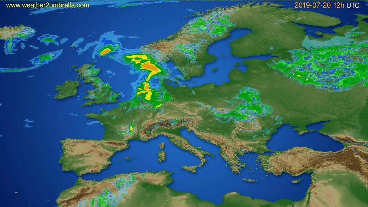 Radar forecast Europe // modelrun: 00h UTC 2019-07-20