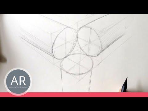 Zeichnen lernen, Akadmie Ruhr, Tutorials, perfekter Kreis in Perspektive, 4-Punkt-Technik