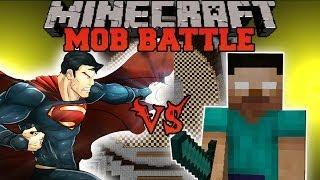 HEROBRINE VS SUPERMAN - Minecraft Mod Battle - Mob Battles - Superheroes Unlimited and Herobrine Mod