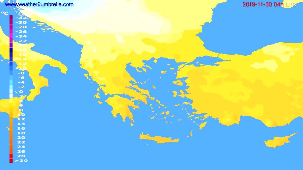 Temperature forecast Greece // modelrun: 00h UTC 2019-11-29