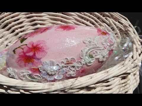 decoupage - romantico uovo in stle shabby chic