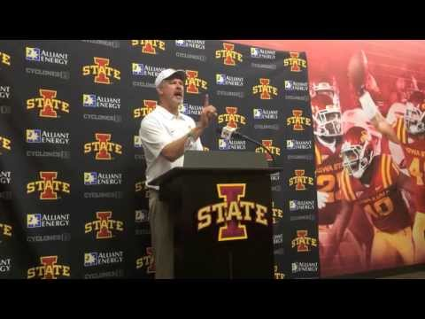 Paul Rhoads - ISU football coach Paul Rhoads spoke to the media following Iowa State's 31-30 loss to Texas on Thursday in a nationally televised game. Rhoads was particula...