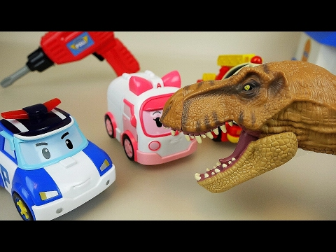 Dinosaur and Fix Robocar Poli car toys