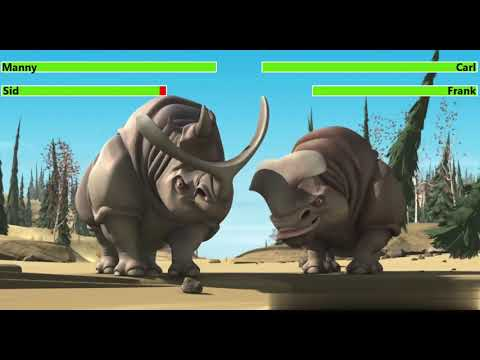 Ice Age (2002) Rhino Fight with healthbars (5K Subscriber Special) (Edited By @Kobe W)