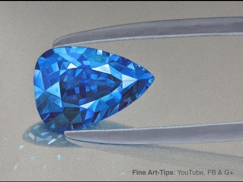 How to Draw a Blue Sapphire With Color Pencils