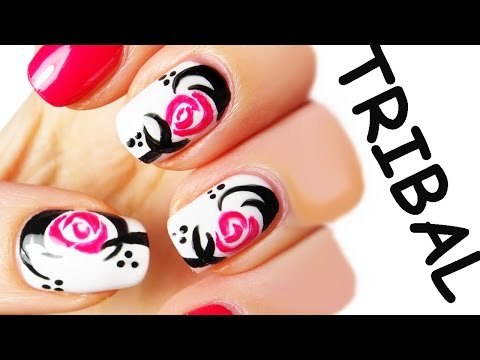 nail art - rosa tribale