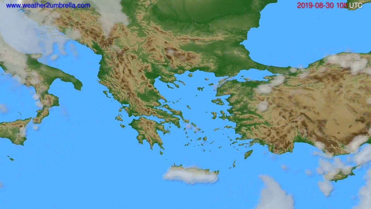 Cloud forecast Greece // modelrun: 12h UTC 2019-08-27
