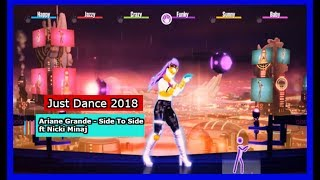 Just Dance 2018 Ariane Grande - Side To Side ft Nicki MinajBrief Summary: Just Dance is back with Just Dance 2018!   This time dancing to Ariane Grande - Side To Side ft Nicki Minaj!  There is also a alternate routine using a stationary bike.  What do the moves look like in this routine?  Watch and find out!  Please like comment and subscribe!  Thank you for watching!