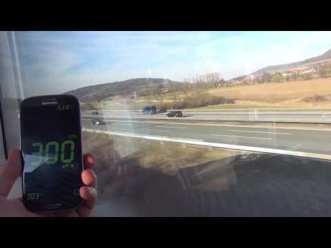 High Speed Train ICE vs. Cars Autobahn Germany 300 km/h kmh