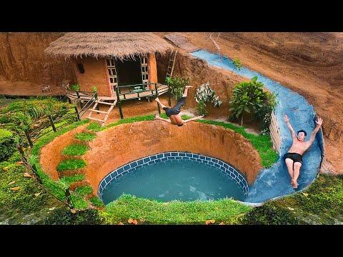 Build Swimming Pool Water Slide Around Secret Underground House (full) - Primitive Survival