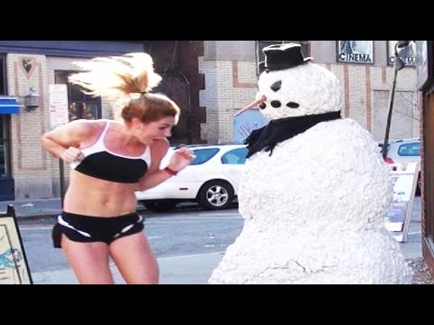 Funny Scary Snowman Prank Video