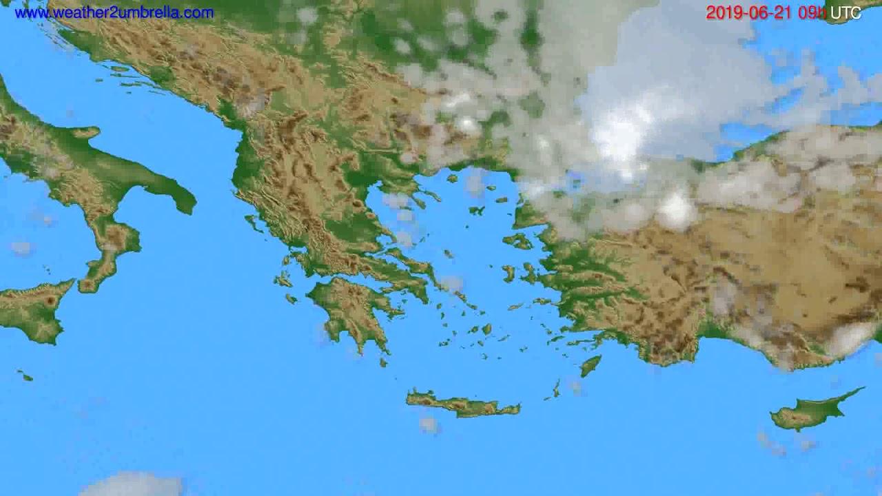 Cloud forecast Greece // modelrun: 12h UTC 2019-06-19