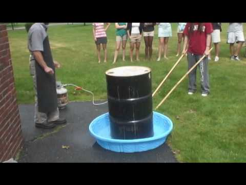 55 Gallon Steel Drum Can Crush (Wait For It)