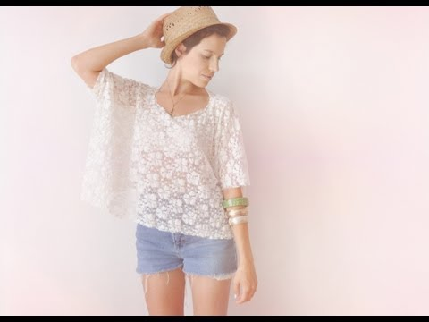 (Lace) DIY 2 Minutes Lace Box Top T-shirt Turtorial