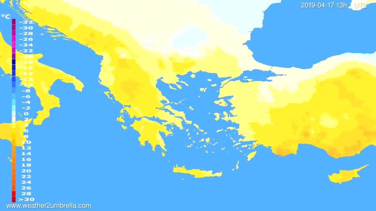 Temperature forecast Greece // modelrun: 12h UTC 2019-04-15