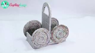 How to make Dining table salt box tray with newspaper and cardboard, best out of waste material craft for home decor. Newspaper Basket Craft. For more amazing DIY Craft Ideas, visit http://www.craftinghours.com Connect us on Facebook: https://www.facebook.com/CraftingHours/Follow us on Twitter: https://twitter.com/craftinghours