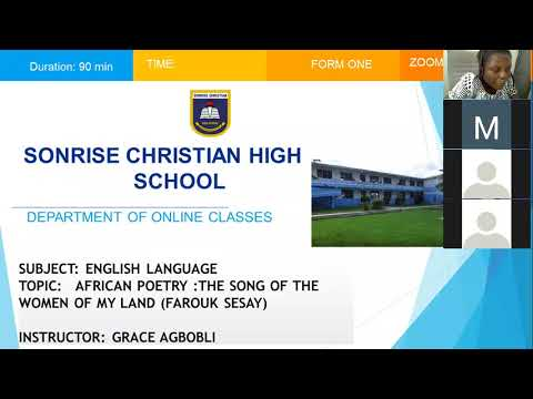 Zoom Online Classes - Sonrise High: Poetry - The Song of The Women of My Land