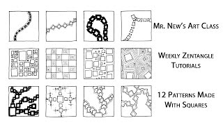 Learn something new with Mr. New! In today's Weekly Zentangle Tutorial, I make twelve patterns using nothing but squares. Four of these square doodles are
