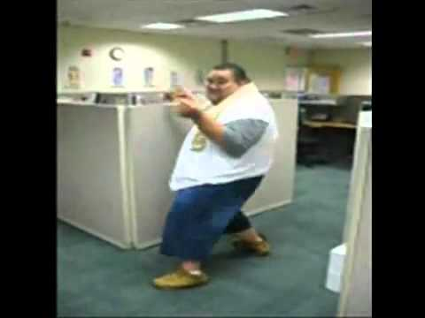 FUNNY  / COOL !!! FAT GUY DANCING AT WORK !!!