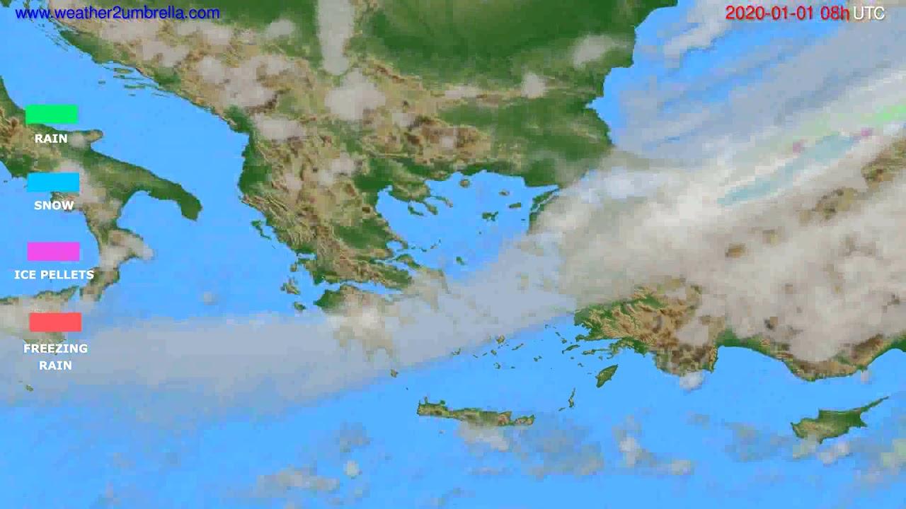 Precipitation forecast Greece // modelrun: 12h UTC 2019-12-31