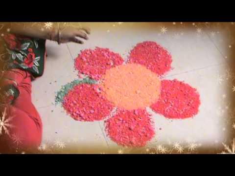 Learn Rangoli: How To Make Beautiful Rangoli Made Of Crystal Salt