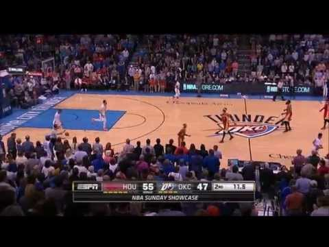 James Harden hits a three on Russell Westbrook just before half
