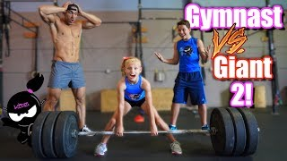 Gymnast vs Giant 2!  Who is stronger, Payton or the Bodybuilder?