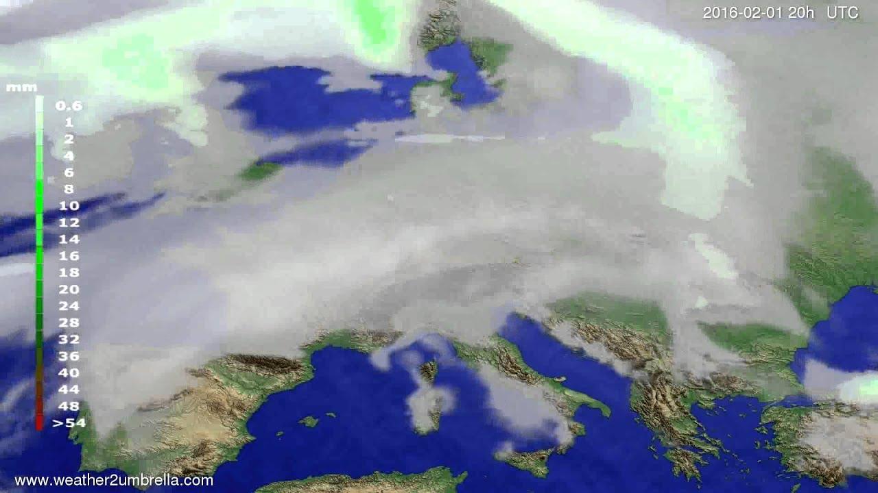 Precipitation forecast Europe 2016-01-30
