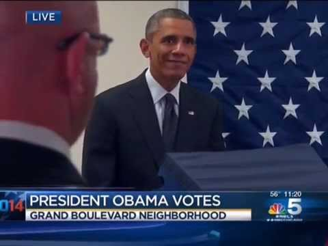 cast - Appearing Confused, It Takes Obama 6 Minutes At Voting Machine To Cast Ballot (October 20, 2014)
