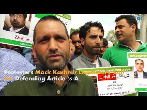 Protesters Mock Kashmir Legislators, Call For Defending Article 35-A