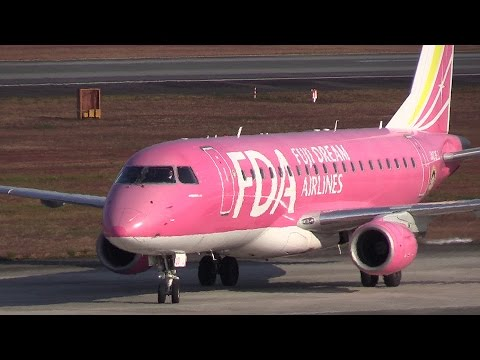 紅葉の熊本空港!!! フジドリームエアラインズ Embraer ERJ 着陸 JA03FJ видео