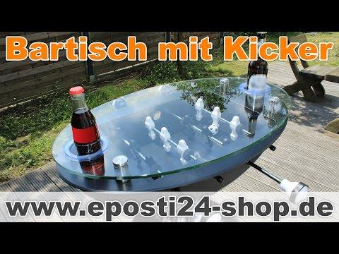 Bartisch mit Kicker, Eiskübel & Getränkehalter