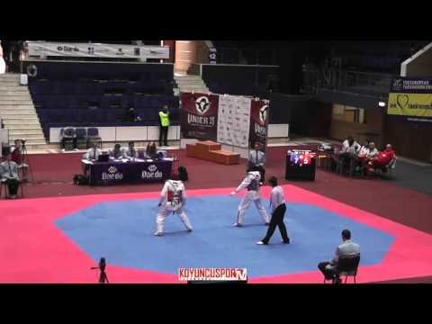 68kg Quarterfinal Domen PIRC (SLO) vs (LAT) KULIBIKS, Deniss (-21 European TKD Championships 2015) (видео)
