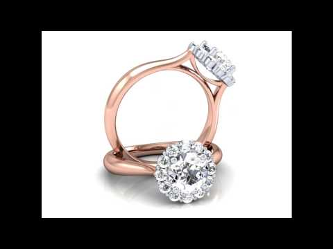 Rose Gold Halo Engagement Ring Setting 0.36ctw