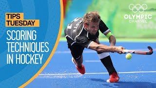 "Olympic silver medallist Robbert Kempermann shares three scoring techniques for Hockey (aka Field Hockey depending on where you are from): forehand, backhand and push.Learn how to improve your game from the best athletes in the world with ""Olympians' Tips"": http://bit.do/HowToEN         Subscribe to the Olympic Channel here: http://bit.ly/1dn6AV5"