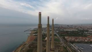 Drone flight Dji Phantom 4 on the fireplaces of San Adrián del Besós, Spain.