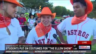 Students sing chant in costume and win World Series tickets from Ellen